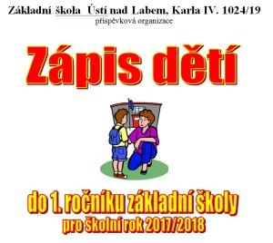 Zápis dětí do 1. ročníku ZŠ na školní rok 2017/2018